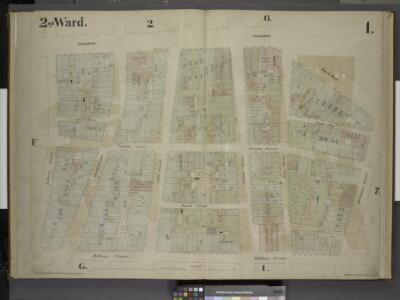 [2nd Ward. Plate 1: Map bounded by Broadway, Parks    Row, Beekman Street, William Street, Liberty Street; Including Nassau Street,    Theater Alley, Dutch Street, Maiden Lane, John Street, Fulton Street, Ann        Street]