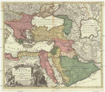 Imperium Turcium in Europa, Asia et Africa, regiones proprias, tributarias, clientelaresq[ue] : sicut et omnes ejusdem beglirbegatus seu praefecturas generalis exhibens