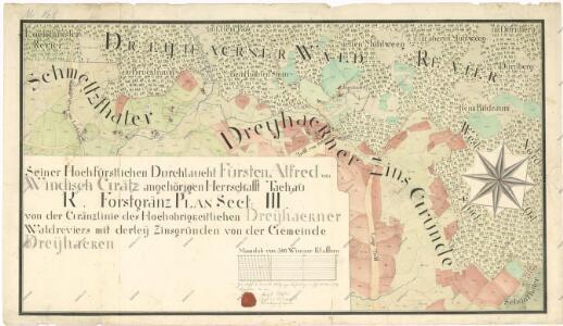 Lesní hraniční mapa mezi revírem Tři Sekery (sekce III) a pozemky obce Tři Sekery