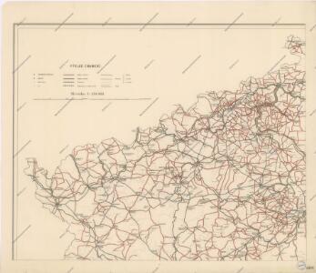 Přehledná mapa okresních silnic v Království Českém koncem roku 1890
