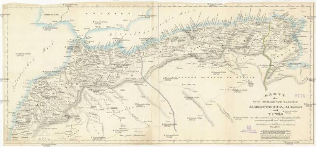 Karte der nord Afrikanischen Laender Marocco, Fez, Algier und Tunis