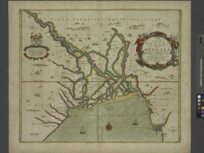 A mapp of the greate river GANGES as ir emptieth it selfe into the bay of BENGALA