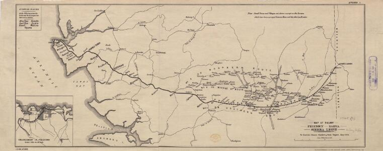 Map of Railway Freetown--Baiima, Sierra Leone