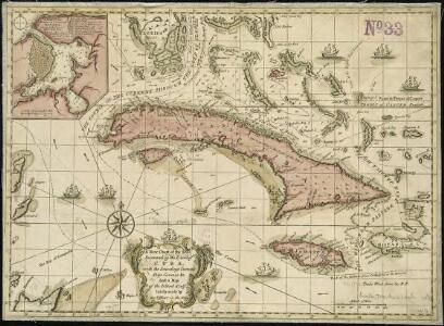 A new chart of the seas surrounding the island of Cuba, with the soundings, currents, ships, courses &c. and a map of the island itself lately made by an officer in the Navy