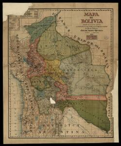 Mapa de Bolivia / tomado de la Carta general y compilación de datos hecha por el ingeniero auxiliar de Obras Públicas Javier Valdez Reinoso