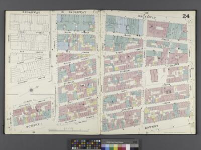 Manhattan, V. 1, Double Page Plate No. 24 [Map bounded by Broadway, E. Houston St., Bowery, Broome St., Elizabeth St.]