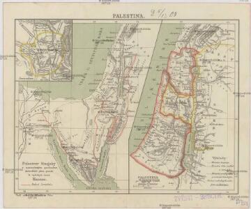 Polostrov [sic] Sinajský s naznačeným pochodem Israelitův přes poušť k vydobytí země Kanaan
