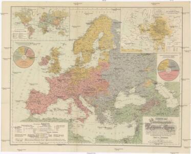 Karte der Verbreitungsgebiete der Religionen in Europa