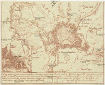 Meenen, leggende in Wals Vlaanderen, aen de Lisse, zyndedoor monsr. de Vauban, ingeneur van den Coning van Vrankryk toten van de Sterkste Steden gemaekt, wert den 22. Augustus 1706 door de Geallieerde na een belegering van 13 dagen ingenomen