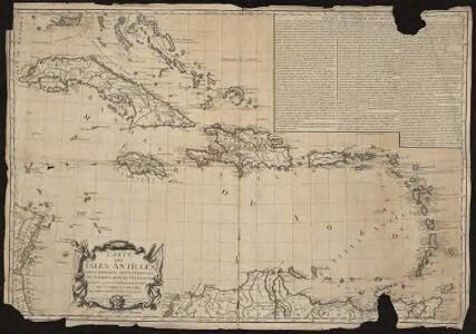 Carte des Isles Antilles dans l'Amérique septentrionale, avec la majeure partie des isles Lucayes faisant partie du théâtre de la guerre entre les anglais et les américains