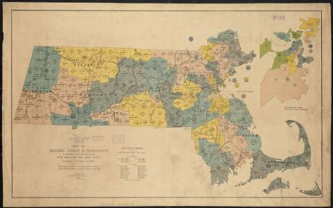 Map of senatorial districts of Massachusetts, as established by the legislature of 1886