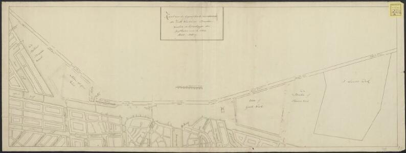 Kaart van de geprojecteerde veranderingen der vaste waalen en braauw-waalen, en het verleggen der jagthaven van de oude stads-herberg.