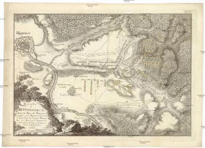 Bataille de Hastenbeck, dans le pays de Hanovre, gagnée par le maréchal d'Etrées, commandant les troupes françoises, sur celles des Hanovriens, aux ordre du duc de Cumberland, le 26 juillet, 1757.