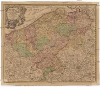 Comitatus Flandriae in omnes ejusdem subjacentes ditio[n]es cum adjacentibus accuratißime divisus
