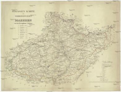 Strassen Karte der Markgrafschaft Maehren und des Herzogthums Schlesien