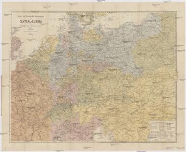 Post- und Eisenbahn-Reisekarte von Central-Europa