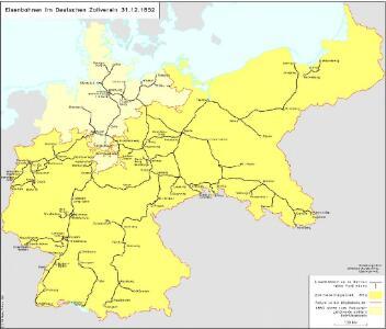 Eisenbahnen im Deutschen Zollverein 31.12.1852