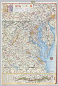 Shell Highway Map of Delaware - Maryland, Virginia, W. Virginia.  (western portion).
