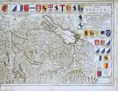 Nouvelle carte geographique dela Suisse, contenant les cantons de Zurich, Lucerne, Schwitz, Zug, Glaris, Schafhouse, Underwald, Appelzell