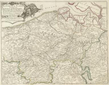 Le Comte de Flandre ou se trouvent les Environs de Donquerque, Nieuport, Ostende, Bruges, Gand, Ouden, Arde, Tournay, Lille, Yppes, et Courtray