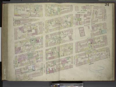 [Plate 24: Map bounded by Crosby Street, E.Houston    Street, Bowery, Broome Street; Including Elm Street, Marion Street, Mulberry     Street, Mott Street, Elizabeth Street, Spring Street, Prince Street]