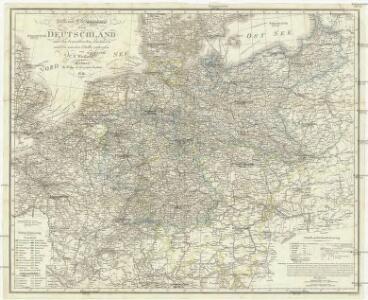 Post- und Eisenbahnkarte von Deutschland und den benachbarten Laendern