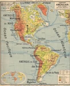 Continent Américan carte physique