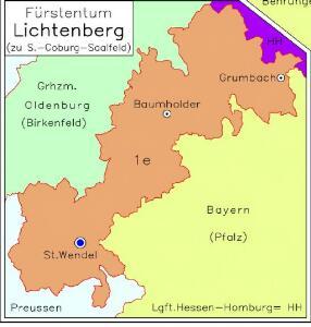 [Nebenkarte: Fürstentum Lichtenberg]