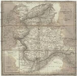 Carta geografica postale del Piemonte Savoja e Genovesato