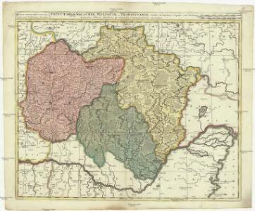 Principatus Valachiae, Moldaviae et Transylvaniae divisus in singulares populos cum finitimis regionibus, distincte ostenduntur