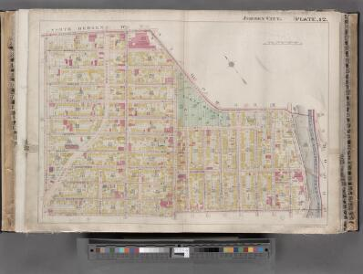 Jersey City, V. 1, Double Page Plate No. 12 [Map bounded by Paterson Plank Rd., Jackson St., South St., Nelson Ave., Secaucus Rd.] / compiled under the direction of and published by G.M. Hopkins Co.