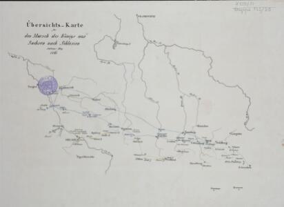 Übersichts-Karte für den Marsch des Königs aus Sachsen nach Schlesien Anfangs May 1761