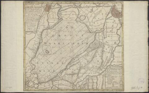 Nauwkeurige kaart van de Haarlemmer of Leidsemeer : met aanwyzing van derzelver byzondere vergrootingen, en van de omleggende en byna vereenigde veenplassen