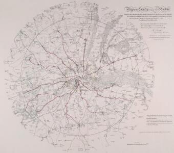 MAP of the COUNTRY 15 MILES ROUND London SHEWING BY A YELLOW CIRCLE OF 3 MILEs, THE LIMITS OF THE TWOPENNY POST DELIVERY