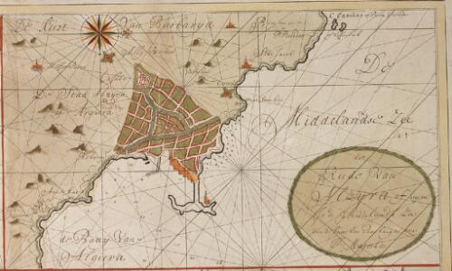 De reede van Alzijra of Argiera in de Middelandse Zee aen de kust van Barbarija over Il. Majorka
