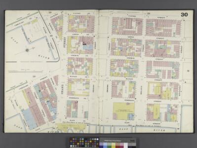 Manhattan, V. 1, Double Page Plate No. 30 [Map bounded by Cannon St., Rivington St., East St., Water St., Corlears St., Jackson St.]