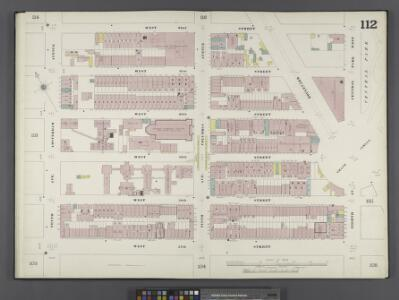 Manhattan, V. 6, Double Page Plate No. 112 [Map bounded by W. 62nd St., Central Park West, 8th Ave., W. 57th St., 10th Ave.]