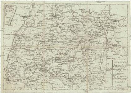 Reise-Karte von Schwaben mit angezeigten Chausseen und Strassen
