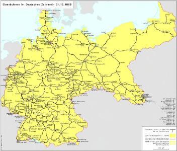 Eisenbahnen im Deutschen Zollverein 31.12.1868