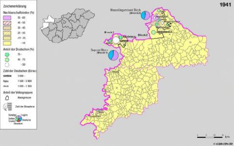 Siedlungsgebiet der Deutschen nach dem Nachbarschaftsindex für Westungarn 1941