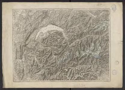 Carte relief de la Suisse occidentale et des pays limitrophes de la France (Savoie) et de l'Italie du Nord