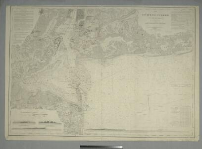 Map of New-York Bay and Harbor and the environs : [with colored manuscript additions to show positions of troops and fleets at the Battle of Long Island, 1776] / founded upon a trigonometrical survey under the direction of F.R. Hassler, superintendent of