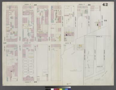 Plate 42: Map bounded by East 20th Street, East River, East 17th Street, East River, East 15th Street, Avenue C, East 13th Street, Avenue A