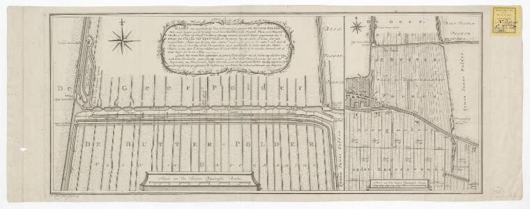 Kaart van een gedeelte der veen en droogmakery genaamt de Butter-Polder: welke meede begrepen is in de bedyking van de gecombineerde Noord Plas, onder Hazerswoude c.s. ingevolge octroy van dato 12 Mey 1759, wordende op dezelve kaart aangeweezen het concep