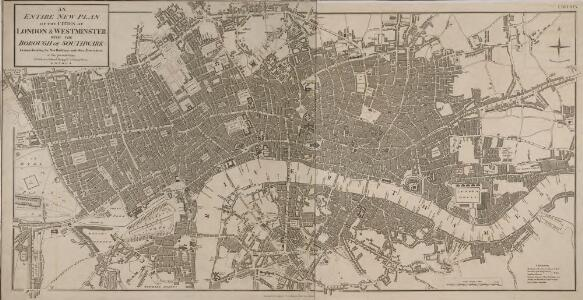 AN ENTIRE NEW PLAN OF THE CITIES OF LONDON AND WESTMINSTER WITH THE BOROUGH OF SOUTHWARK 217
