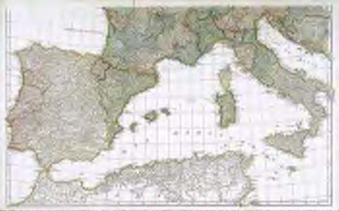 Carte Espagne Italie.Premiere Partie De La Carte D Europe Contenant La France L