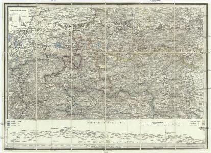 Strassen und Gebirgs-Karte zur Reise von Wien durch Oesterreich, Salzburg, Kärnthen, Steyermark und Tyrol bis München