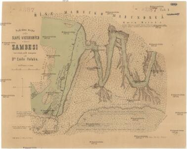 Podrobná mapa (č. 2) slapů Viktoriiných v řece Zambesi