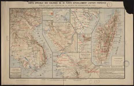 Carte spéciale des colonies où se porte actuellement l'action française