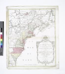 Carte nouvelle de l'Amerique angloise : contenant tout ce que les Anglois possedent sur le continent de l'Amerique septentrionale voir le Canada, la Nouvelle Ecosse ou Acadie, les treize provinces unies qui sont: les quatres colonies de la Nouvelle Angle